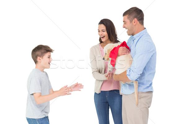 Parents gifting puppy to boy Stock photo © wavebreak_media