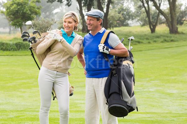 Golf çift yürüyüş yeşil gün Stok fotoğraf © wavebreak_media