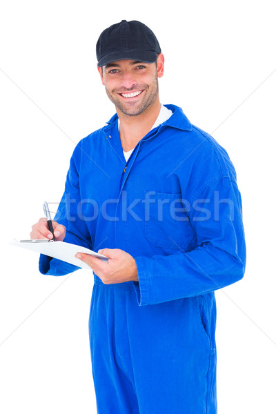 Handyman azul global escrita clipboard retrato Foto stock © wavebreak_media