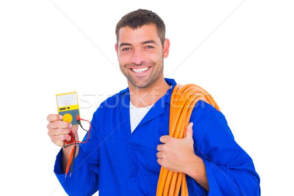 Uśmiechnięty elektryk drutu portret człowiek Zdjęcia stock © wavebreak_media