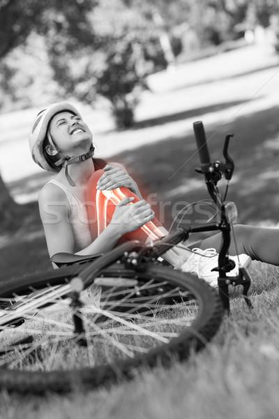 костях раненый велосипедист цифровой композитный трава спорт Сток-фото © wavebreak_media