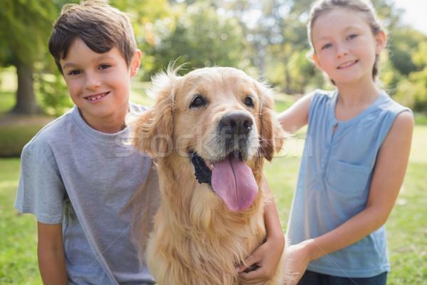Mosolyog testvér kutya park napos idő lány Stock fotó © wavebreak_media