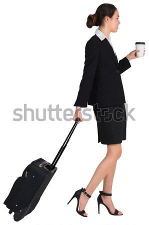 Nosić widoku kobieta interesu walizkę biały kobieta Zdjęcia stock © wavebreak_media