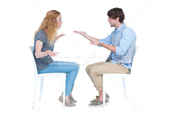 座って カップル 引数 白 男 女性 ストックフォト © wavebreak_media