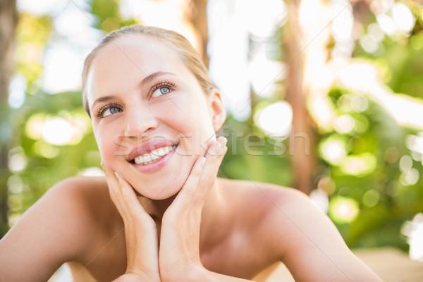 Stockfoto: Vreedzaam · blond · massage · tabel · spa · vrouw