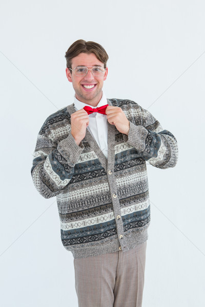 Happy geeky hipster with wool jacket  Stock photo © wavebreak_media