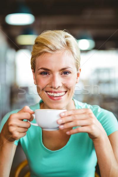 довольно блондинка Кубок кофе кафе Сток-фото © wavebreak_media