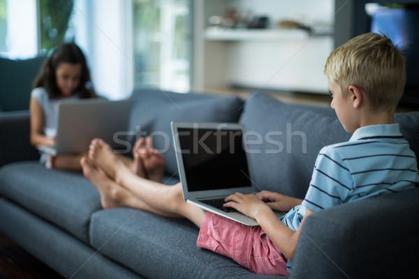 Testvérek laptopot használ nappali otthon számítógép ital Stock fotó © wavebreak_media