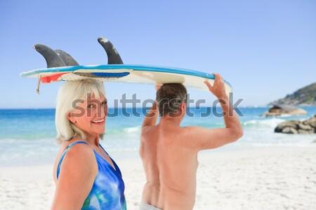 вид сзади женщину йога пляж Blue Sky Сток-фото © wavebreak_media
