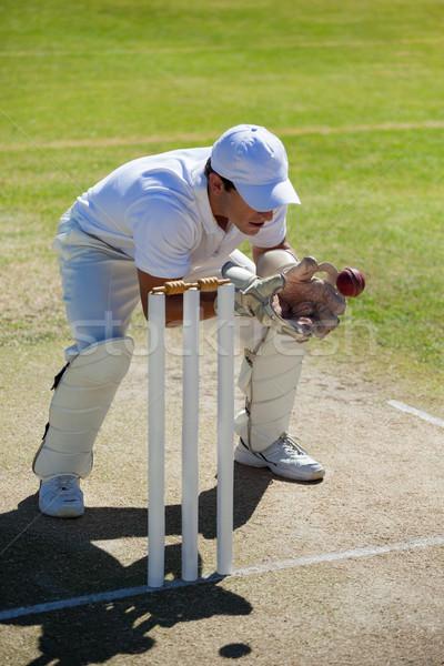 Wicketkeeper catching ball behind stumps on field Stock photo © wavebreak_media
