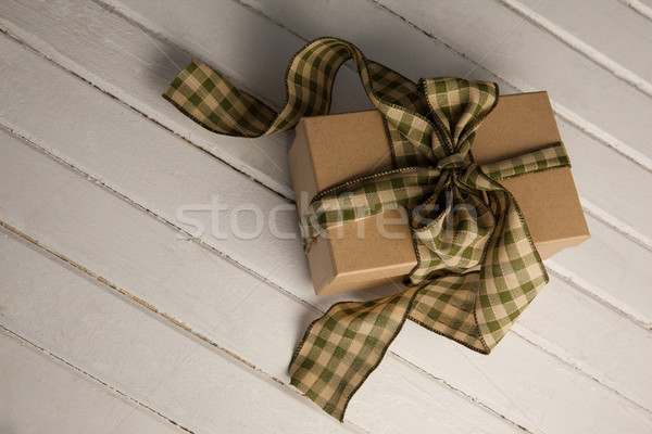 High angle view of tied gift box on table Stock photo © wavebreak_media