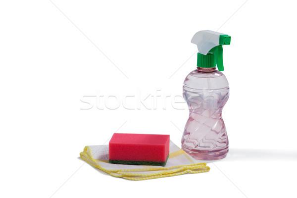 Spray garrafa limpeza equipamento branco pano Foto stock © wavebreak_media