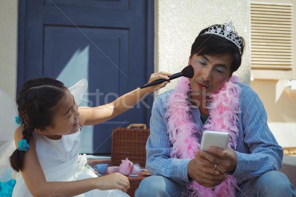 Aranyos lánygyermek tündér jelmez smink arc Stock fotó © wavebreak_media