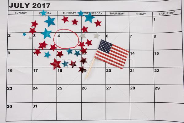 Naptár csillag forma dekoráció amerikai zászló zászló Stock fotó © wavebreak_media