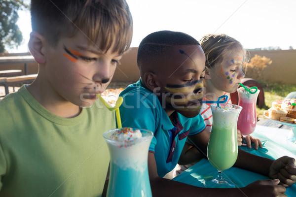 Kinderen gezicht verf dranken park zomer Stockfoto © wavebreak_media