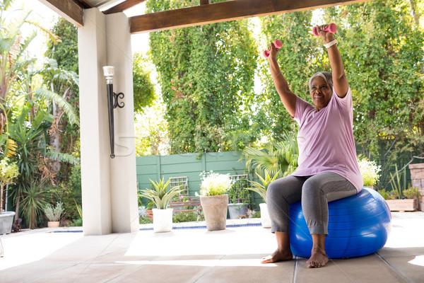 Nő karok a magasban tart súlyzók ül fitnessz Stock fotó © wavebreak_media
