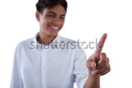 Jongen onzichtbaar virtueel scherm witte Stockfoto © wavebreak_media