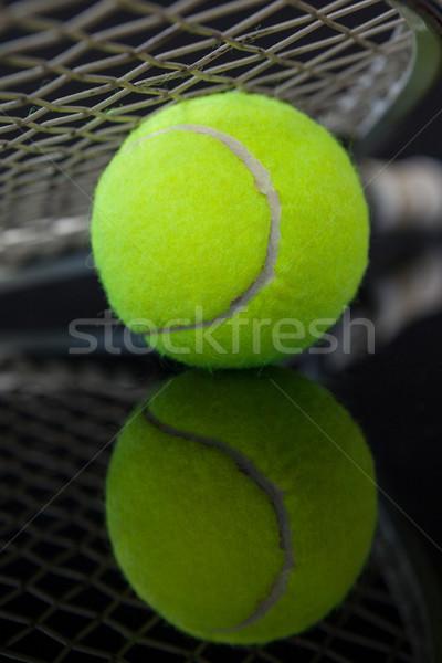 Tennisracket tl Geel bal reflectie Stockfoto © wavebreak_media