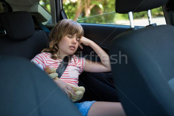 Tinilány alszik hát ülés autó aranyos Stock fotó © wavebreak_media