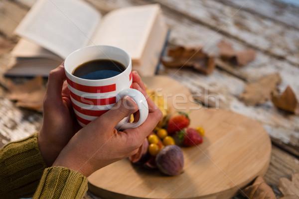 Mano mujer mesita baja otono alimentos libro Foto stock © wavebreak_media