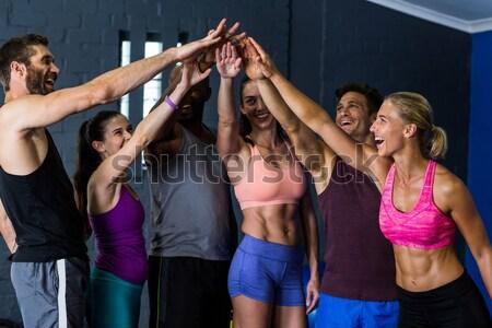 Volleyball joueurs tribunal jeunes femme bleu Photo stock © wavebreak_media
