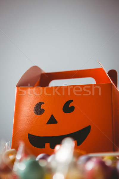 Low angle view of orange box with anthropomorphic smiley face Stock photo © wavebreak_media