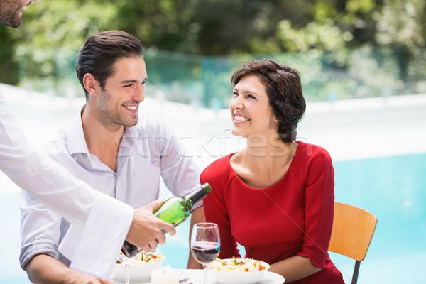 Pincér adag vörösbor pár étel szeretet Stock fotó © wavebreak_media