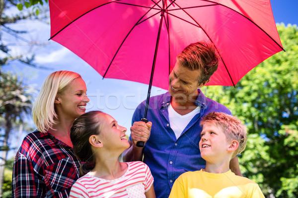Familia pie paraguas familia feliz rosa parque Foto stock © wavebreak_media