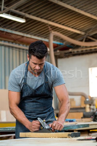 Marangoz çalışma tozlu atölye adam işçi Stok fotoğraf © wavebreak_media