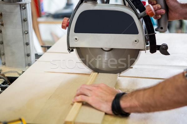 Carpintero de trabajo polvoriento taller trabajador estudio Foto stock © wavebreak_media