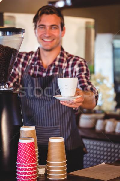 официант кофе кафе человека счастливым ресторан Сток-фото © wavebreak_media