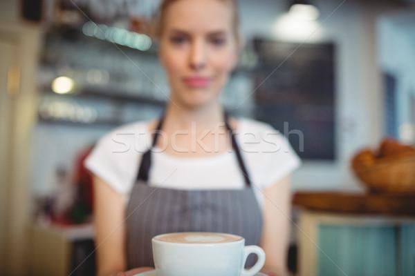 Barista teklif kahve kafe kadın Stok fotoğraf © wavebreak_media