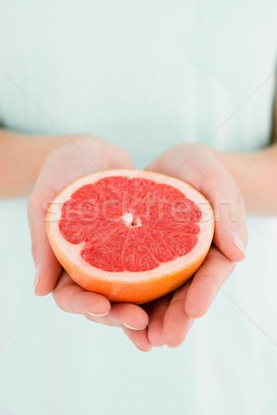 Foto stock: Mujer · pomelo · frutas · rojo · atención