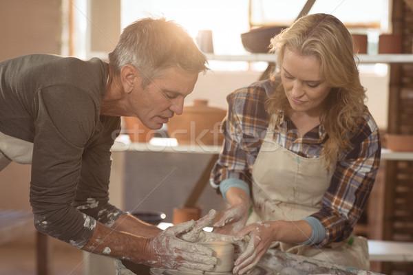 Homme Homme poterie atelier affaires femme Photo stock © wavebreak_media