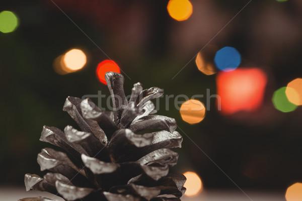 соснового конус деревянный стол Рождества время Сток-фото © wavebreak_media