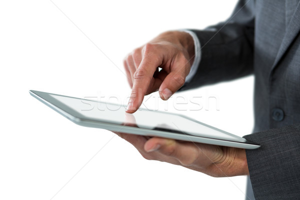 Stock fotó: Középső · rész · üzletember · digitális · tabletta · fehér · üzlet