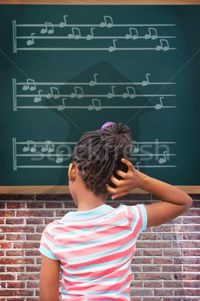 összetett kép gondolkodik zene lány gyermek Stock fotó © wavebreak_media