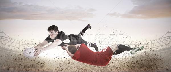 összetett kép rögbi játékos stadion égbolt Stock fotó © wavebreak_media