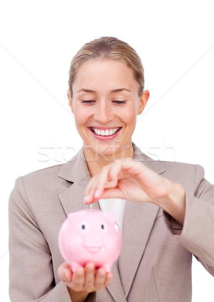 Encantador empresária dinheiro isolado Foto stock © wavebreak_media