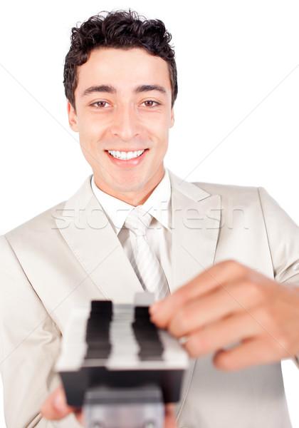 Mosolyog üzletember keres üzlet kapcsolat kártya Stock fotó © wavebreak_media