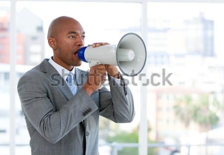 конкурентоспособный бизнесмен мегафон служба человека Сток-фото © wavebreak_media
