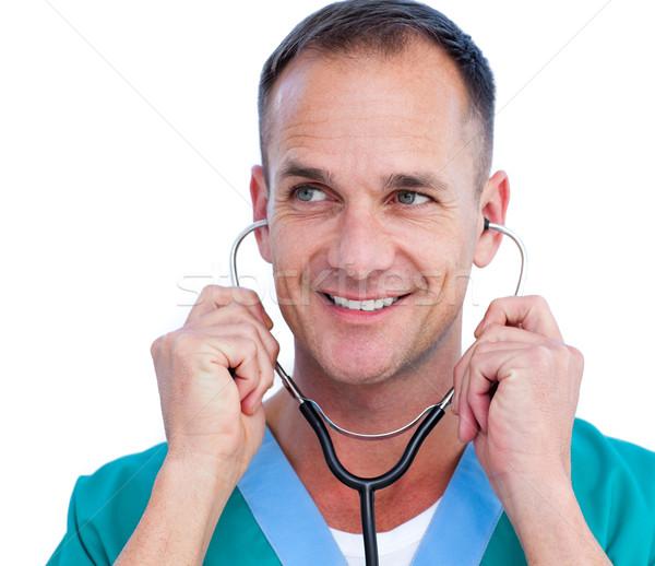 Portret charyzmatyczny mężczyzna lekarz stetoskop biały Zdjęcia stock © wavebreak_media