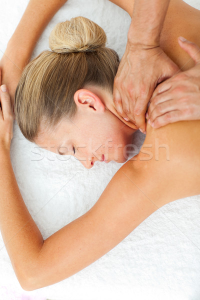 спящий женщину массаж Spa центр Сток-фото © wavebreak_media