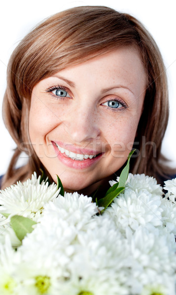 Portrait of a happy woman holding a bunch of flowers Stock photo © wavebreak_media