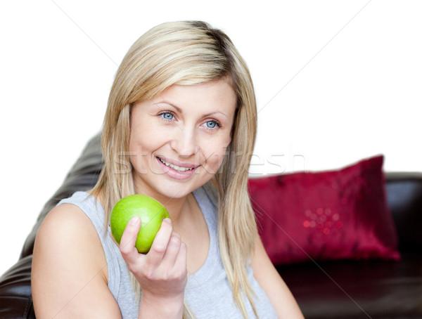 счастливым женщину еды яблоко белый продовольствие Сток-фото © wavebreak_media