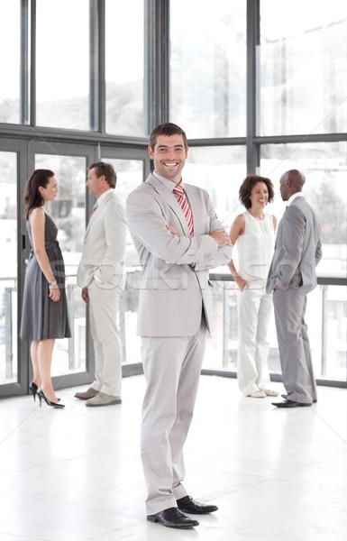 Stockfoto: Portret · blijde · manager · leidend · team · kantoor