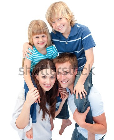 Happy parent giving piggyback to their childs Stock photo © wavebreak_media