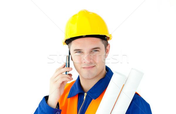 Genç erkek işçi kask beyaz Stok fotoğraf © wavebreak_media
