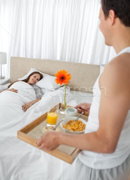 страстный человека завтрак подруга спальня домой Сток-фото © wavebreak_media