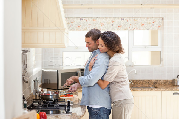 женщину муж приготовления домой счастливым Сток-фото © wavebreak_media